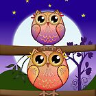 Cute Full Moon Owls in a Starry Night by walstraasart
