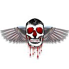 Flying bleeding skull with chromed wings illustration by creativedesignz