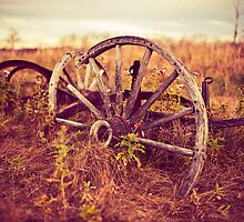 Fall Landscape with Wagon Wheel by AllArtIsErotic