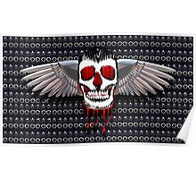 Skull with chromed wings on leather Poster
