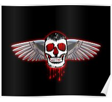 Bloody skull with chromed wings illustration Poster