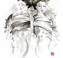 Geisha Japanese women in kimono traditional original Japan painting art by Mariusz Szmerdt