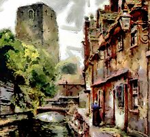A digital painting of Fisher Row and the remains of Oxford Castle 1910 by Dennis Melling