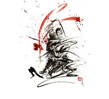 Samurai sword black white red strokes bushido katana martial arts sumi-e original fight ink painting artwork Photographic Print
