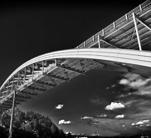 Rainbow bridge steel arch bridge in black and white architecture structure fine art photography wall art - Il ponte contro il cielo by visionitaliane