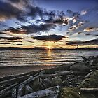 Sunset on Bellingham Bay beach and docks waterside scene fine art color photo - Bellingham Beauty by visionitaliane