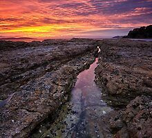 Blackmans Bay Rocks Sunrise #18 by Chris Cobern