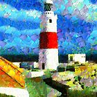 A digital painting of Europa Point Lighthouse, Gibraltar by Dennis Melling