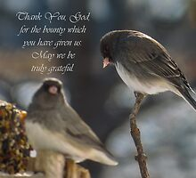 Junco Table Prayer by Deb Fedeler
