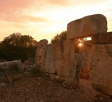 Sunset under paleolithic remains by miradorpictures