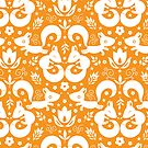 Cute ornamental foxes pattern by oksancia