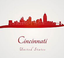 Cincinnati skyline in red by Pablo Romero