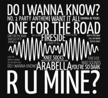 Arctic Monkeys AM Collage White on Black by nicolecorder