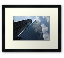 Sky and Sky - Toronto Skyscraper Reflecting Fluffy White Clouds Framed Print