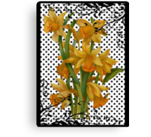 Antique Daffodils on Black Polka Dots Canvas Print