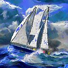 A digital painting of a Damien II Staysail Schooner in Rough Seas by Dennis Melling