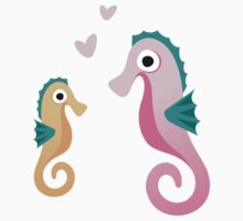 Cute cartoon seahorse stickers, big pink small yellow with hearts by MheaDesign