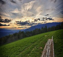 Sunset on the Alps landscape color wall art - Mancate solo voi due by visionitaliane