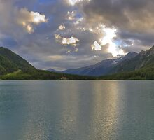 Landscape lake between the mountains at sunset fine art panoramic color - Felicità by visionitaliane