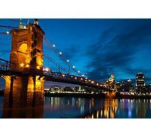 John A. Roebling Suspension Bridge at Dusk Photographic Print