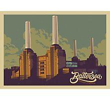 Battersea Power Station vintage style illustration Photographic Print