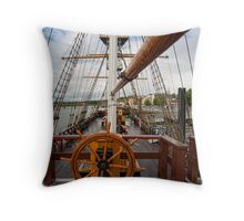 Ship's Wheel, The Dunbrody famine ship, New Ross, Co. Wexford, Ireland Throw Pillow