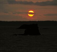 Fine art color landscape sunset on Puget Sound orange sun with dark sea and rocks - Scende il sole by visionitaliane