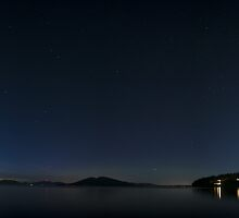 Night scene over the water with islands fine art panoramic - Puget Sound by Night by visionitaliane