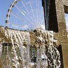 Seattle waterfront color slide film photography - fountain and ferris wheel - Rare North West by visionitaliane