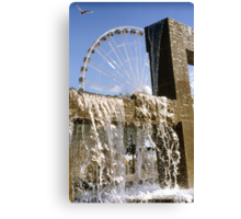 Seattle waterfront color slide film photography - fountain and ferris wheel - Rare North West Canvas Print