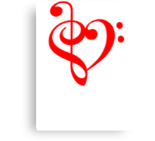 Treble-Bass Heart RED Canvas Print