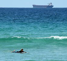 Surfer, Tanker, Deep Blue Sea by Jane McDougall