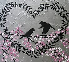 Romantic birds with sakura and heart blossom by cathyjacobs
