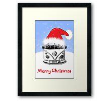 VW Camper Merry Christmas Blue Framed Print