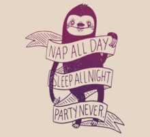 Sloth 'Party Never' T-Shirt by CalmSubtlety