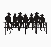 Cowboys on wood fence by thatstickerguy