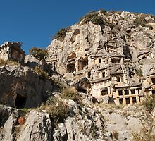 Rock Tombs on the Dalyan River Turkey by Jim Hellier