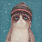Grumpy Christmas cat by limeart