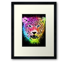 Tiger - Colorful Paint Splatters Dubs - T-Shirt Stickers Art Prints Framed Print