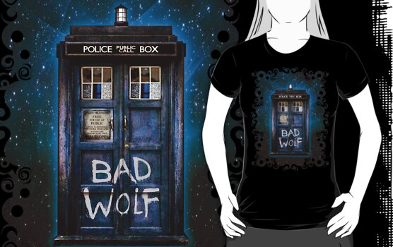 Lonely bad Wolf phone booth in the space by ThreeSecond DesignandArt
