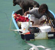 dog, man and sea-gulls - perro, hombre y gaviotas by Bernhard Matejka
