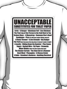 Unacceptable Substitutes for Toilet Paper T-Shirt