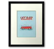 Volkswagen Bus Samba Vintage Car - Hippie Travel - Let's go somewhere Framed Print