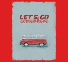 Volkswagen Bus Samba Vintage Car - Hippie Travel - Let's go somewhere T-Shirt