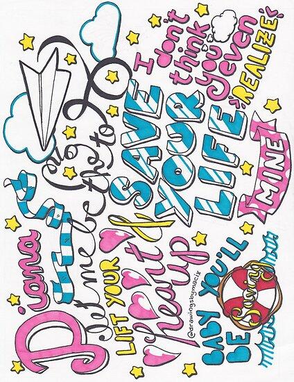 One Direction Diana Lyric Drawings Diana Lyric Draw