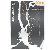 New York City Marathon Map 2014 Poster