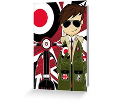 Mod Boy & Retro Scooter Greeting Card