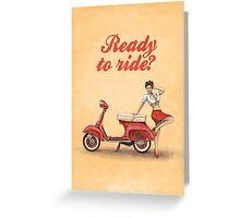 Vespa Scooter Pinup Girl Vintage Scandinavian Design Greeting Card