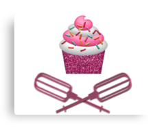 Cupcake & Crossed Beaters In Pink Canvas Print
