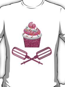 Cupcake & Crossed Beaters In Pink T-Shirt